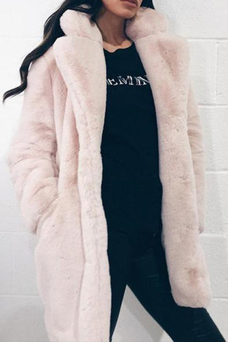 Long Sleeve Plain Pocket Fashion Casual Fur Coats
