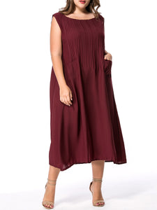 Round Neck Patch Maxi Dress