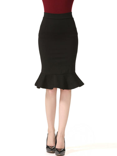 Designed Flounce Hem Plain  Mermaid Midi Skirt