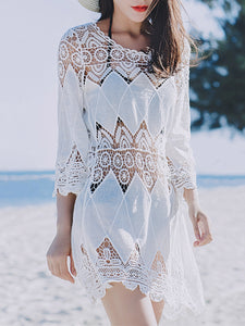 Round Neck  See-Through  Crochet Lace Plain Tunic
