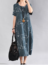 Round Neck Abstract Print Sack Maxi Dress