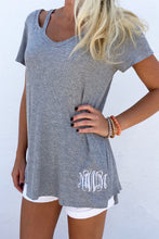 V Neck  Asymmetric Hem Bow Cutout  Graffiti T-Shirts