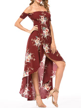 Off Shoulder Floral Chiffon Maxi Dress