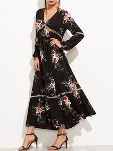 Flowy Deep V-Neck Floral Printed Maxi Dress