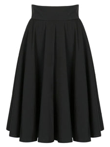 Delightful Plain  Flared Midi Skirt