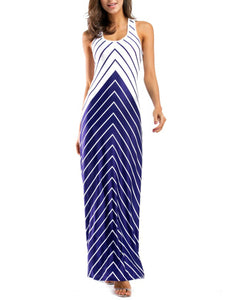 Scoop Neck Striped Maxi Dress