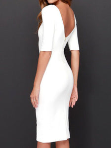 Round Neck  Backless  Plain Bodycon Dresses