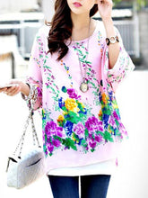 Floral Printed  Batwing Sleeve Tunic