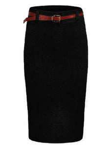 Solid Slit Belt Knitted Pencil Midi Skirt