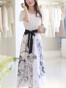 Ruffle Sleeve Bowknot Printed Chiffon Maxi Dress