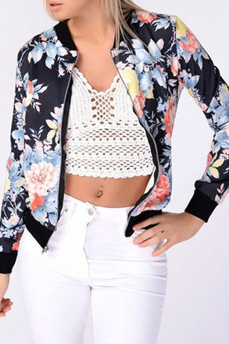 Band Collar  Contrast Trim Zipper  Floral Printed Jackets