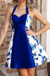Halter  Backless Patchwork  Printed Party Dresses