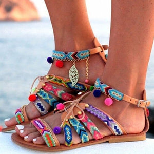 Lace Up Patchwork Vintage Chain Flats