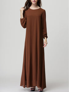 Round Neck Chiffon Maxi Dress
