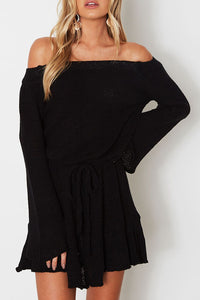 Off Shoulder  Plain  Bell Sleeve Casual Dresses