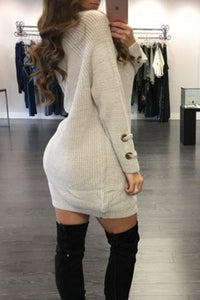 Deep V Neck Tie Collar  Drawstring  Long Sleeve Bodycon Dresses