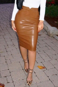 Smooth Leather Tight Skirts