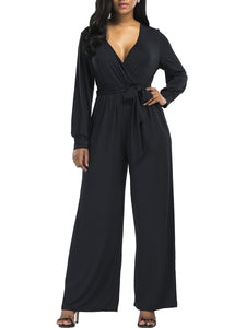 Deep V-Neck Bowknot Plain Wide-Leg Jumpsuit