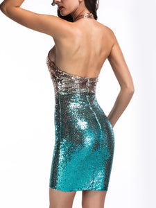 Halter  Glitter  Gradient  Polyester Party Dress