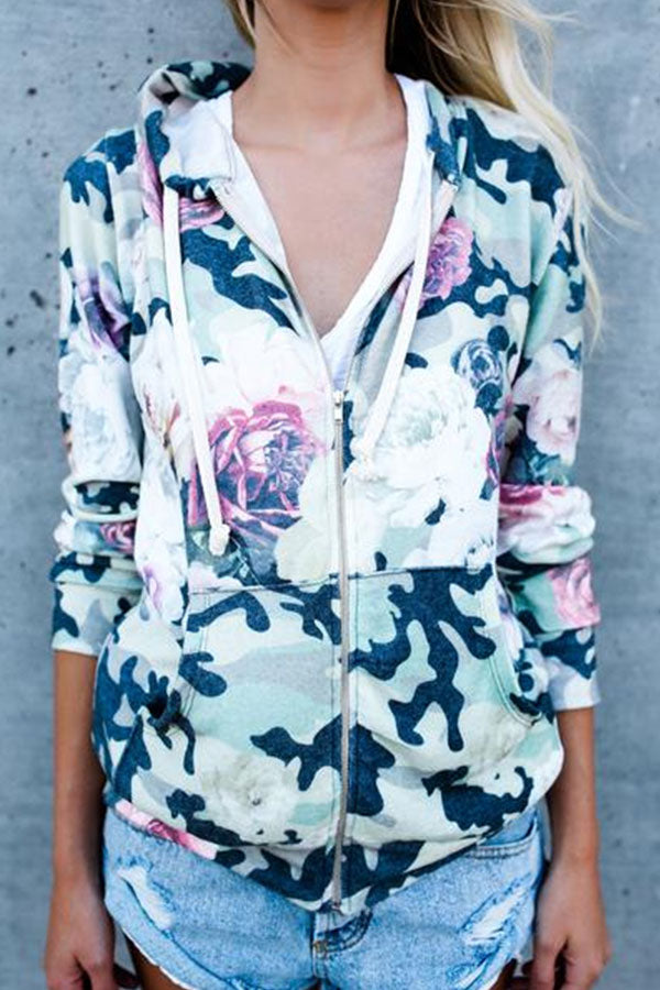 Hooded  Zipper  Floral Printed Hoodies