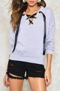 V Neck  Lace Up Metal Eyelet Sweatshirts