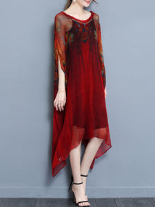 V-Neck Batwing Sleeve Two-Piece Maxi Dress