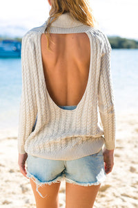 High Neck  Back Hole  Plain Sweaters