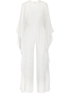 Solid Cape Sleeve Jumpsuit