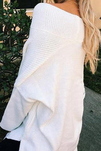 V Neck  Side Slit  Plain  Batwing Sleeve Sweaters