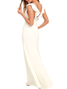 Deep V-Neck Flounce Maxi Dress