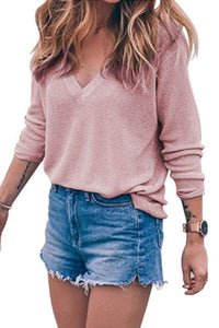 V Neck Knit  Plain Sweaters