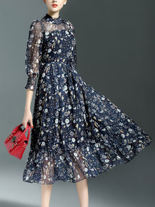 High Neck Printed Chiffon Maxi Dress
