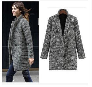 Houndstooth Coat Slim Thick Overcoat