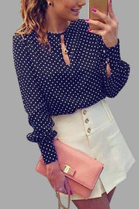 Round Neck  Dot  Blouses