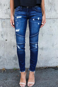 Broken Holes Single Button  Patchwork Jeans