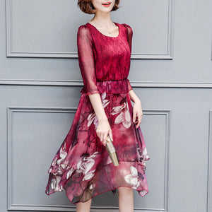 Slim Floral Printed 3/4 Sleeve Chiffon Shift Dress