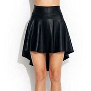 Faux Leather Irregular Skirt