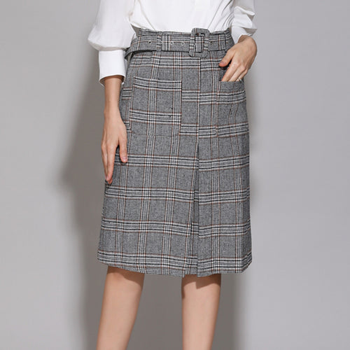 Temperament Plaid Wool Skirt