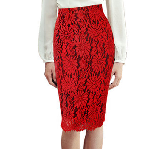 Red Lace Slim Midi Skirt
