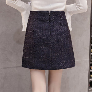 Elegant Plaid Button Skirts