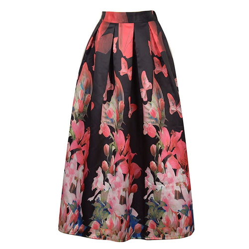 Floral Printed Flared Skirt