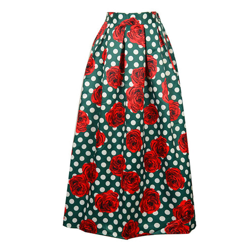 Satin Floral Printing Flared Skirt