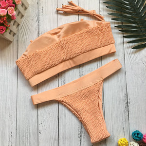 Lovely Sexy Pleated Bikini Swimsuit