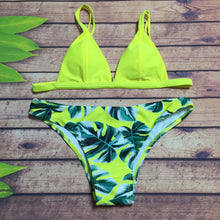 Sexy Leaves Printed Split Bikini Swimsuit