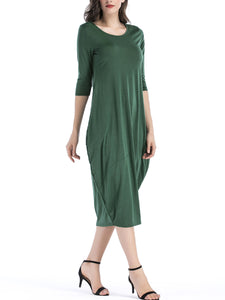 Casual Round Neck Maxi Dress