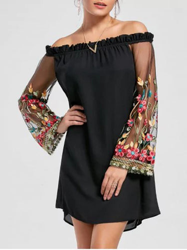 Off Shoulder Patchwork Shift Dress