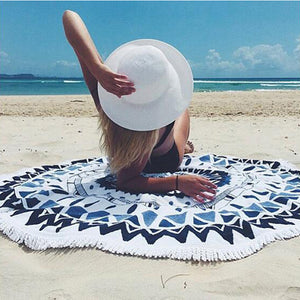 Round Beach Towel Tassel Shawl