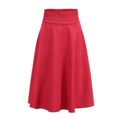 Elegant Solid-Color Skater Dress Skirt