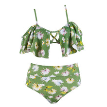 Summer Green Floral Printed Bikini Set
