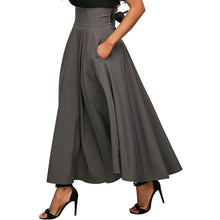 High Waist Pure Color Maxi Skirt With Pocket